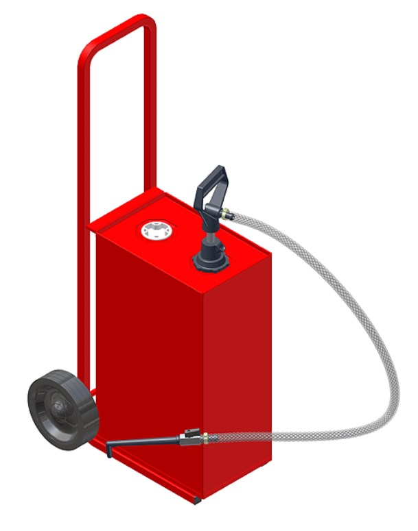 25 Litre Oil Dispenser Unit with Tank, Trolley and Pump (Red)